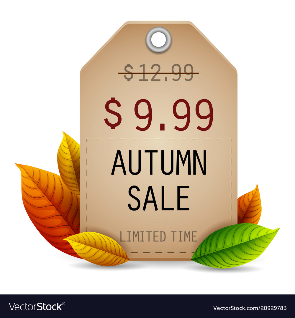 Autumn leaves sale tag isolated on white backgroun