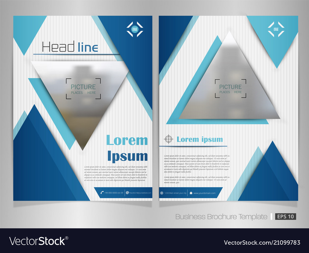 Business brochure of blue color in triangle shape