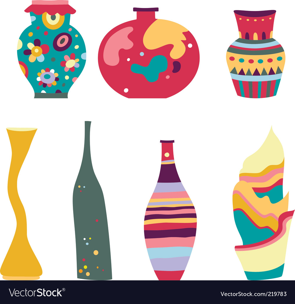 Decorative vases vector image