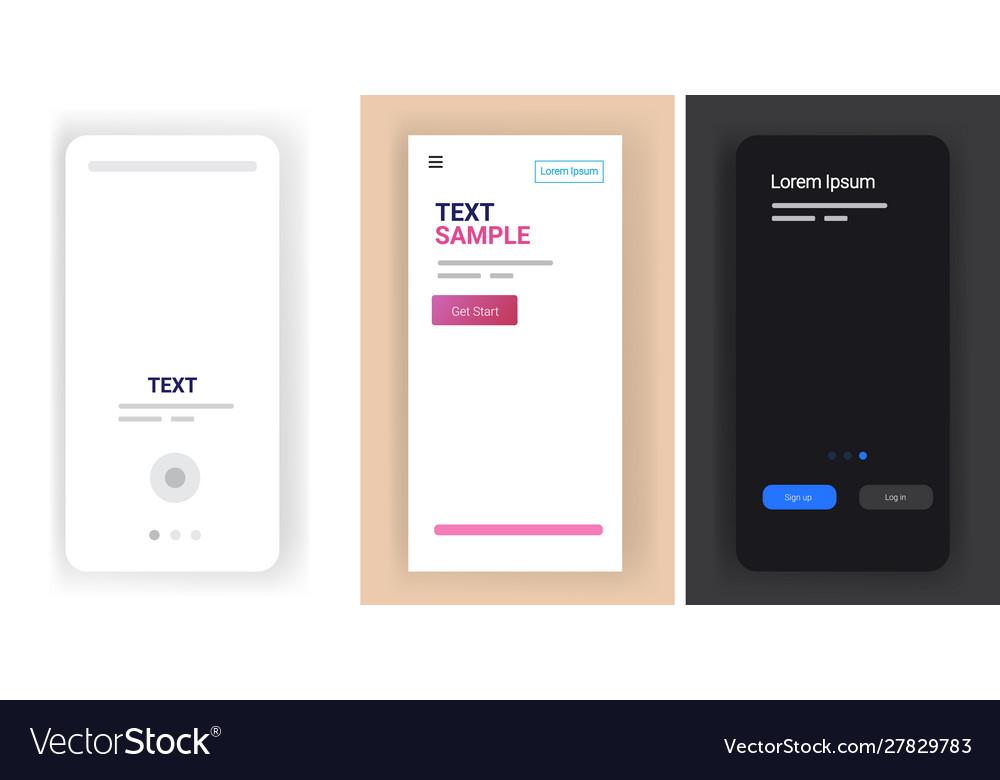 Different mobile app screens set horizontal copy