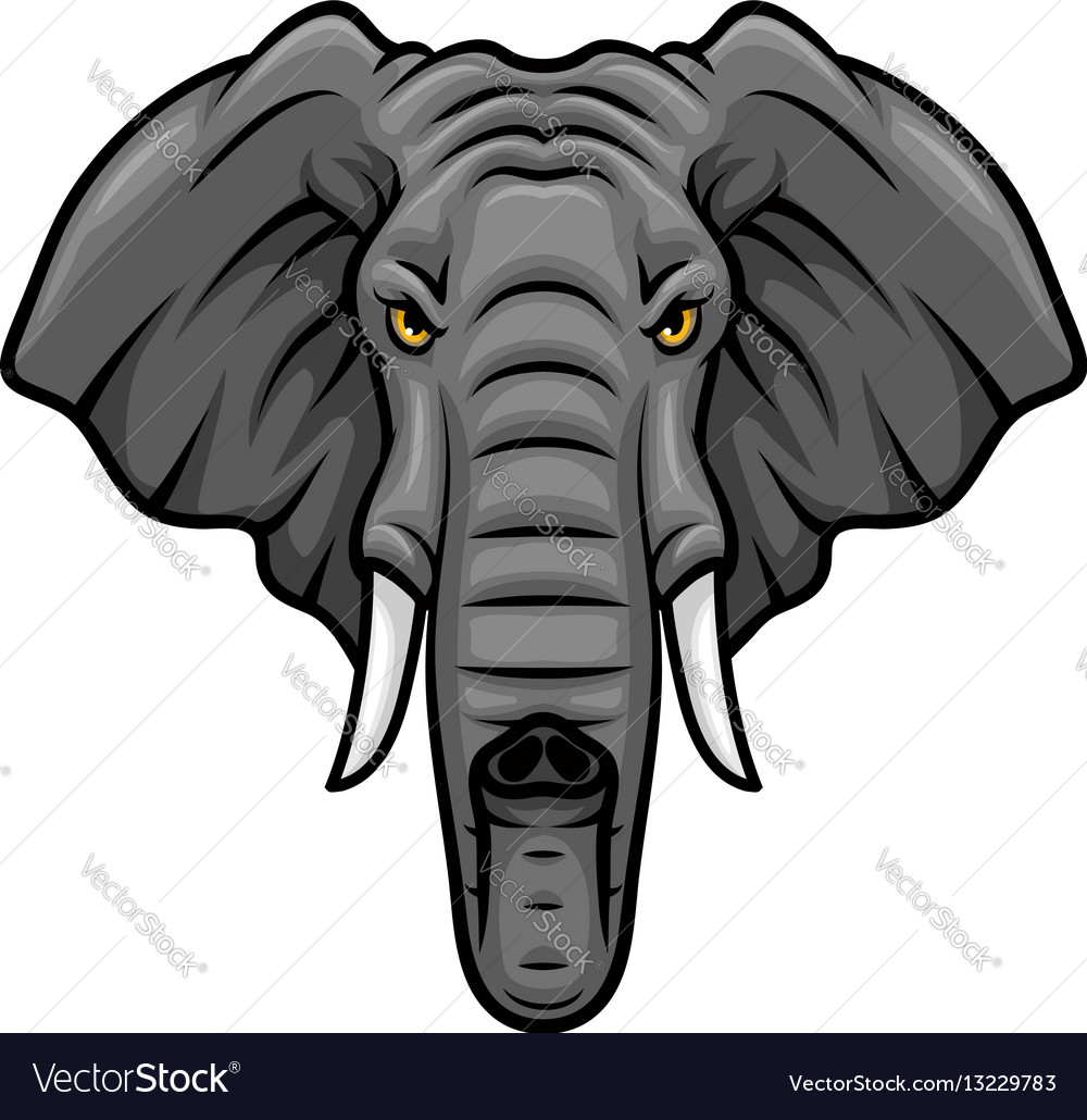 Elephant head tusks and trunk mascot icon