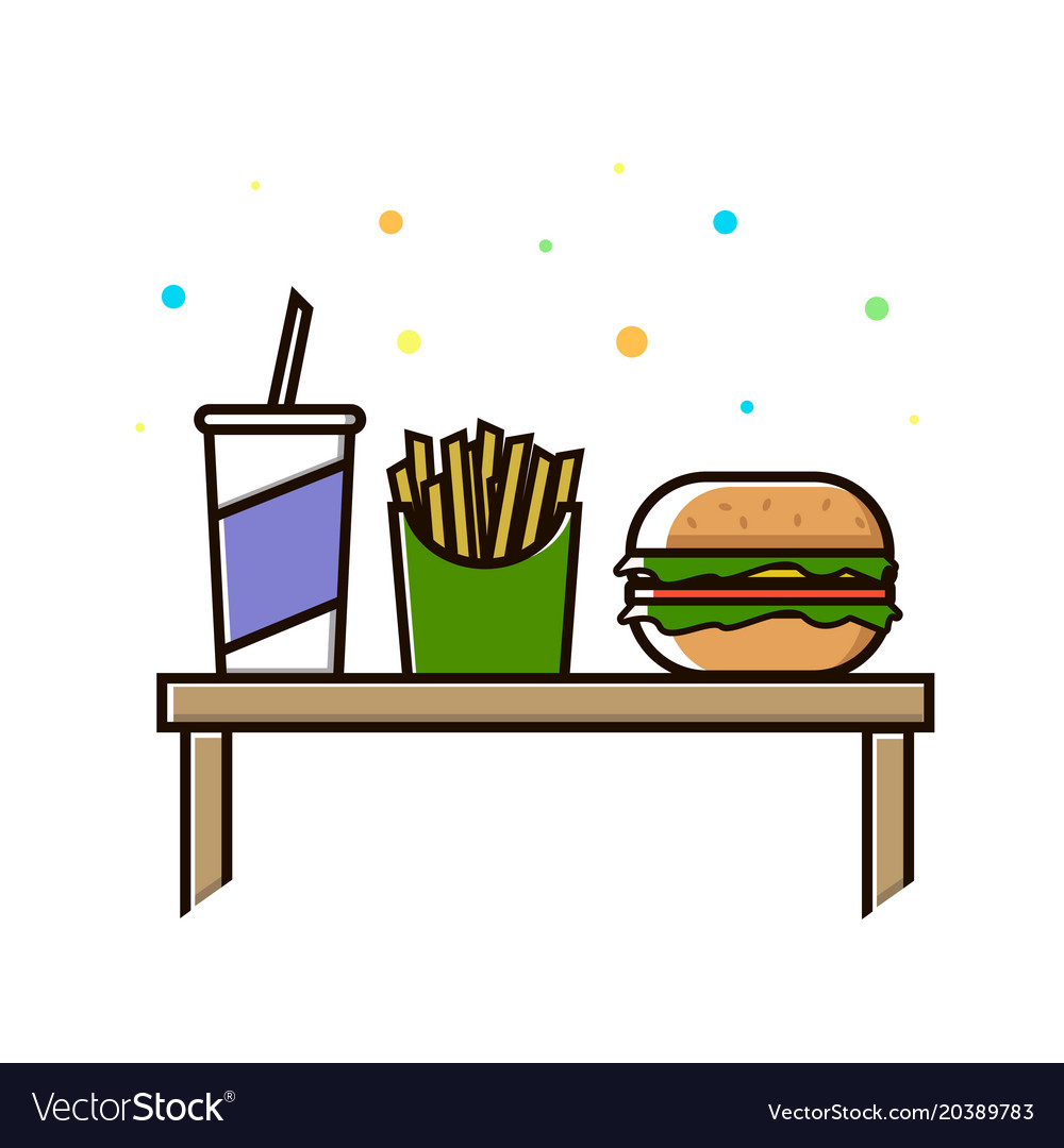 Fast food menu cola hamburger and french fries
