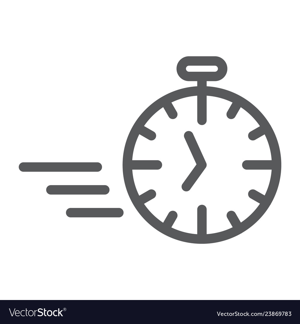 Fast stopwatch line icon time and speed timer
