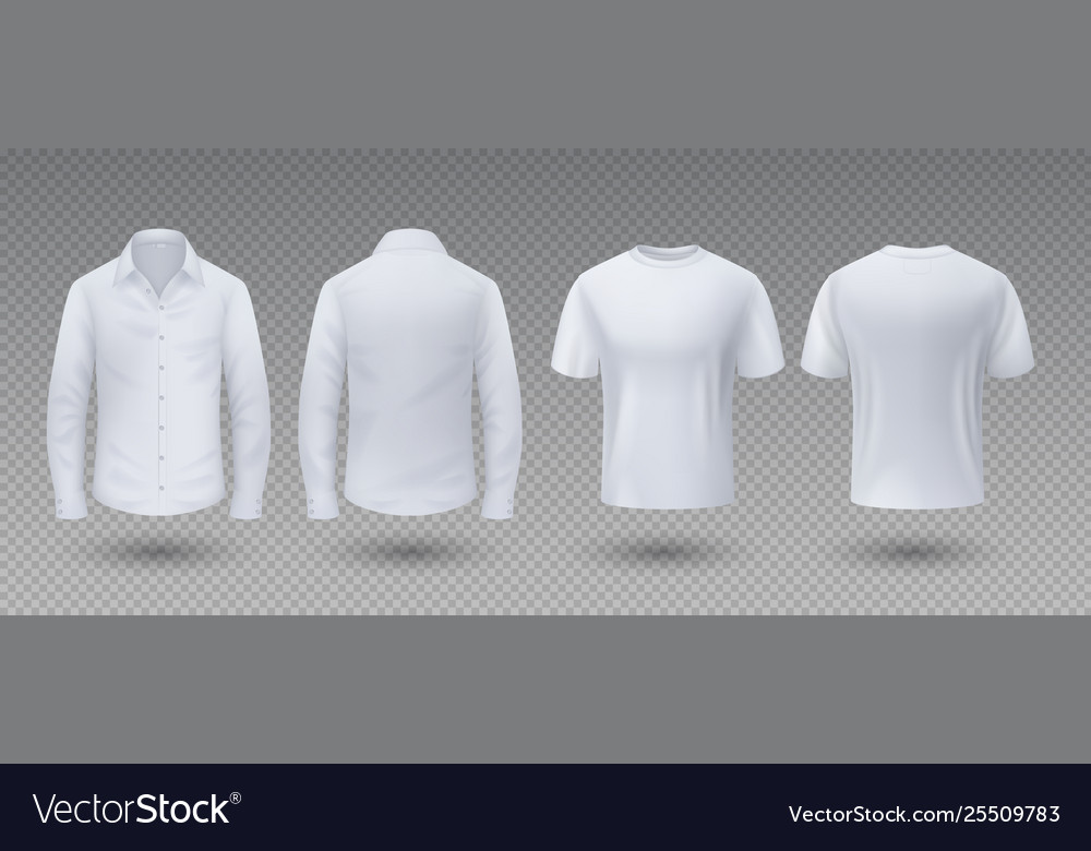 Realistic t-shirt and shirt white mockup isolated
