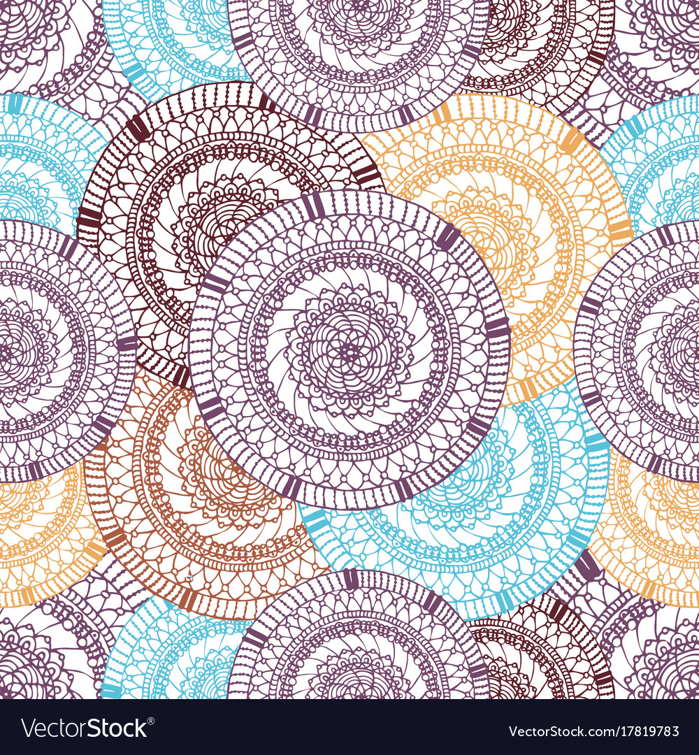 Seamless pattern of hand drawn round items