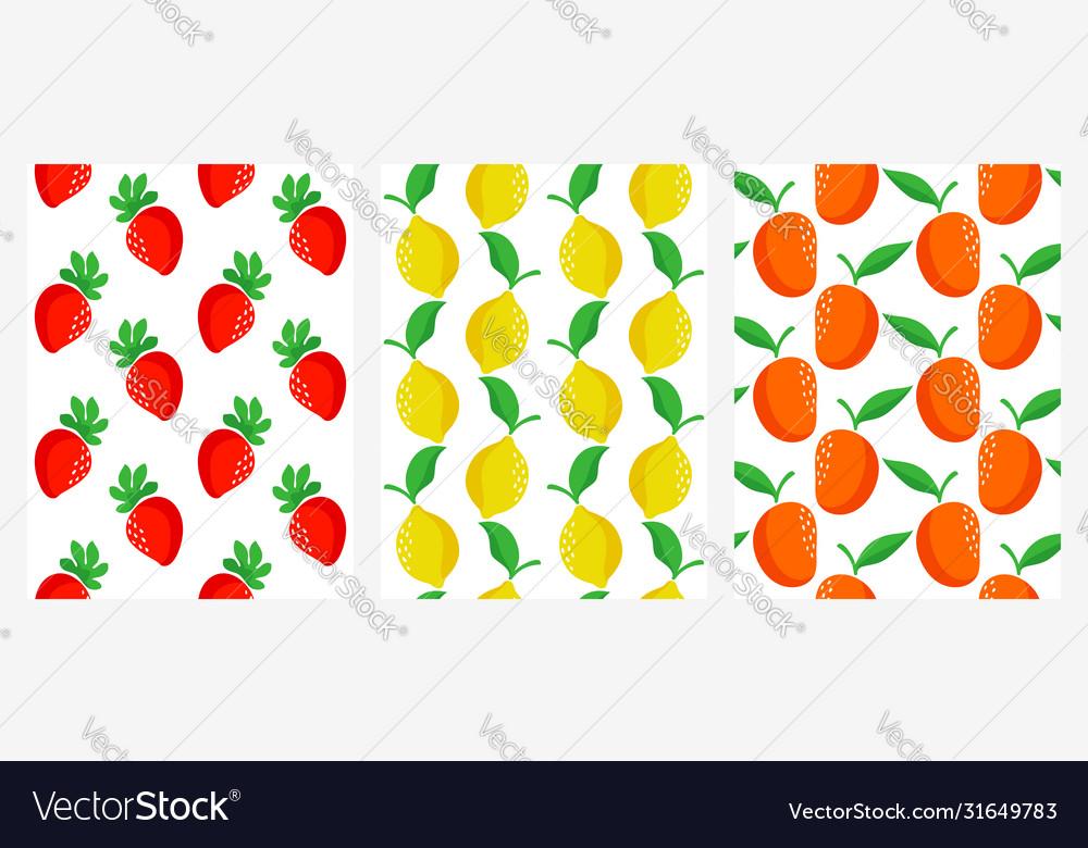 Seamless patterns with strawberry lemon and mango