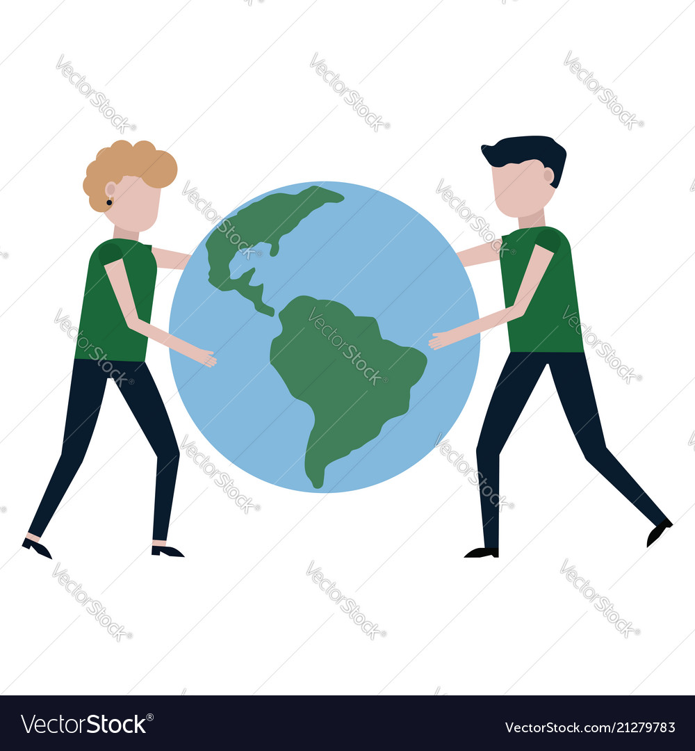the guy and the girl are carrying the planet earth