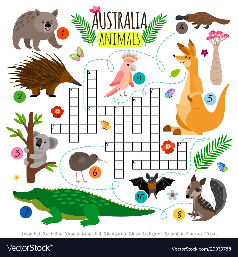 Australian Animals Crossword Kids Words Royalty Free Vector
