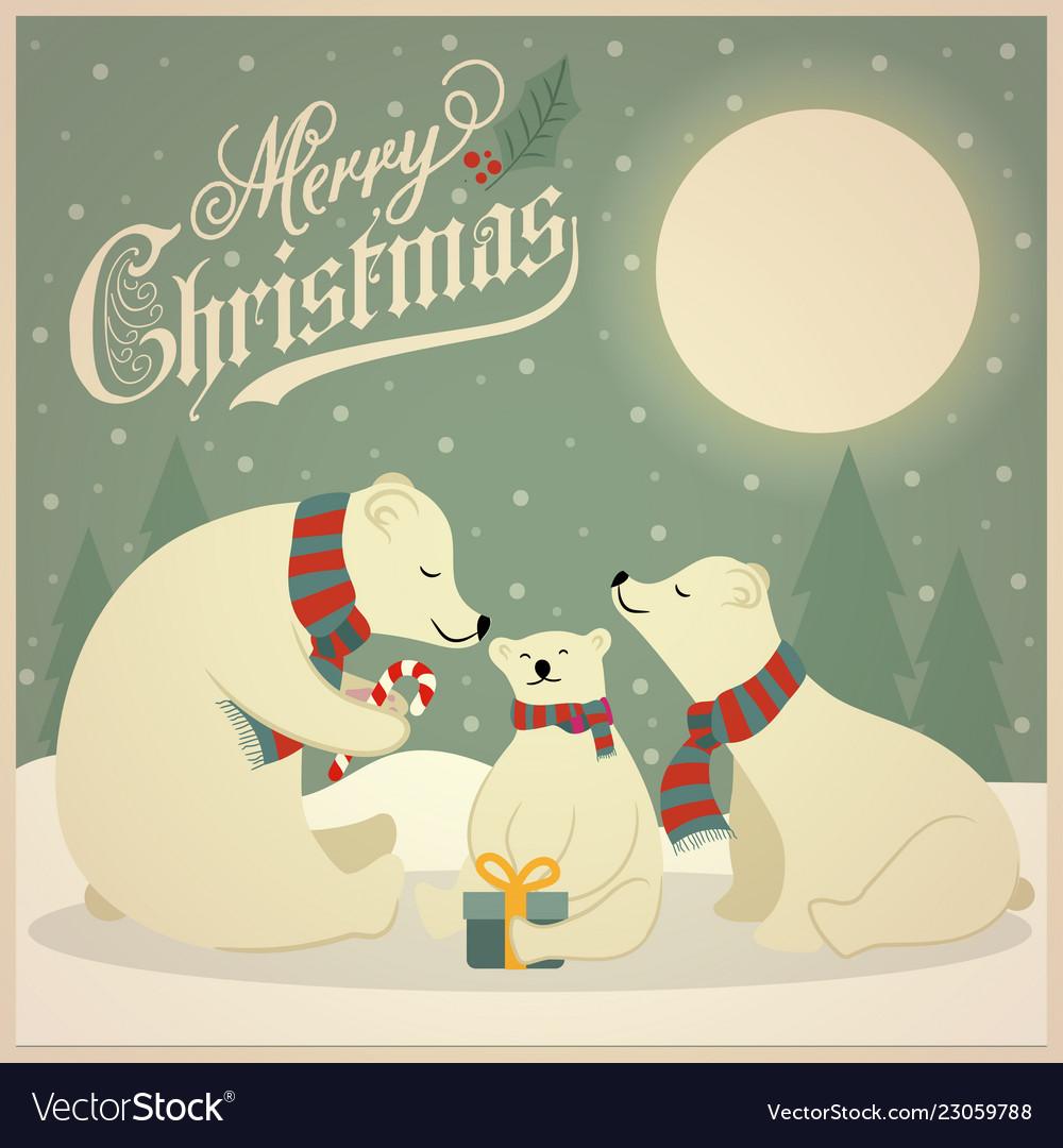 Beautiful retro christmas card with polar bears