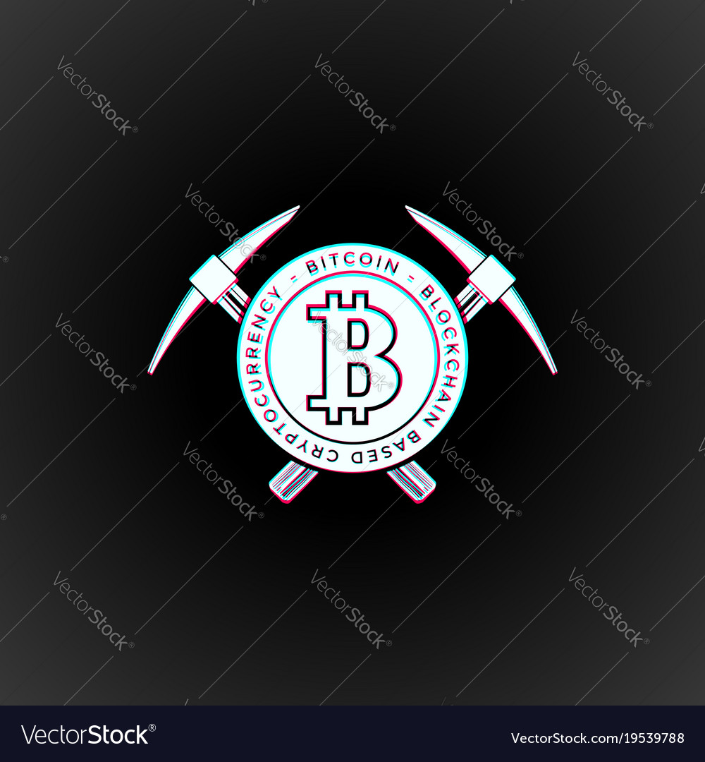 Bitcoin currency mining logo sign vector image