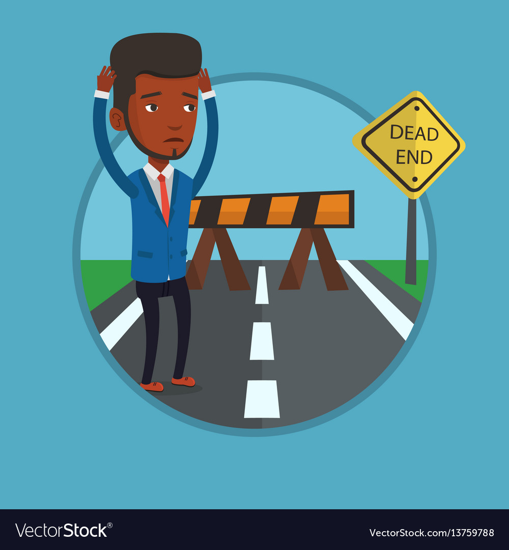 Businessman looking at road sign dead end