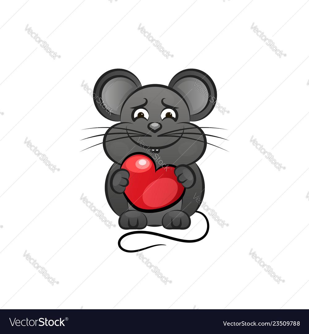 Cartoon cute mouse love heart