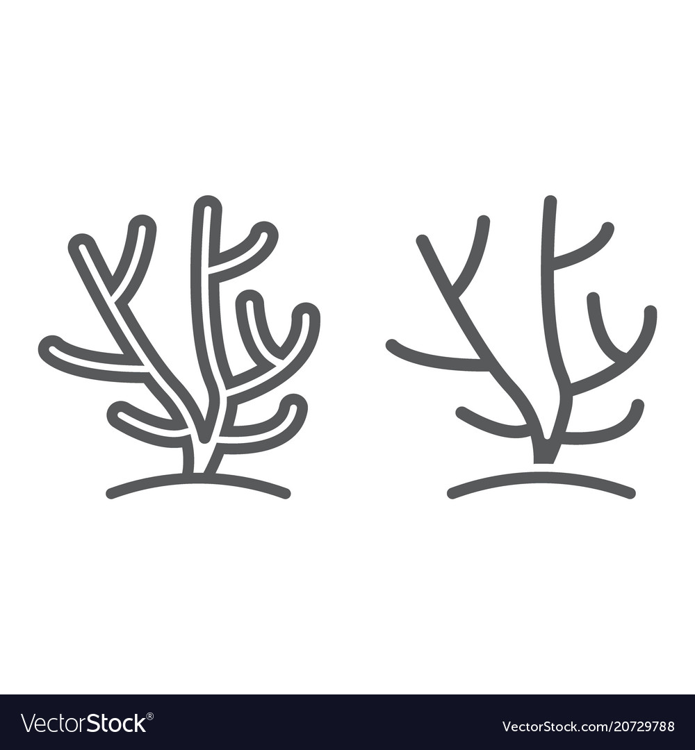 Coral line and glyph icon ocean and underwater