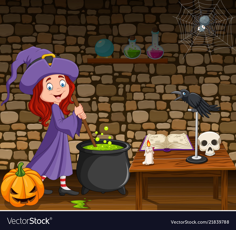Halloween background with little witch