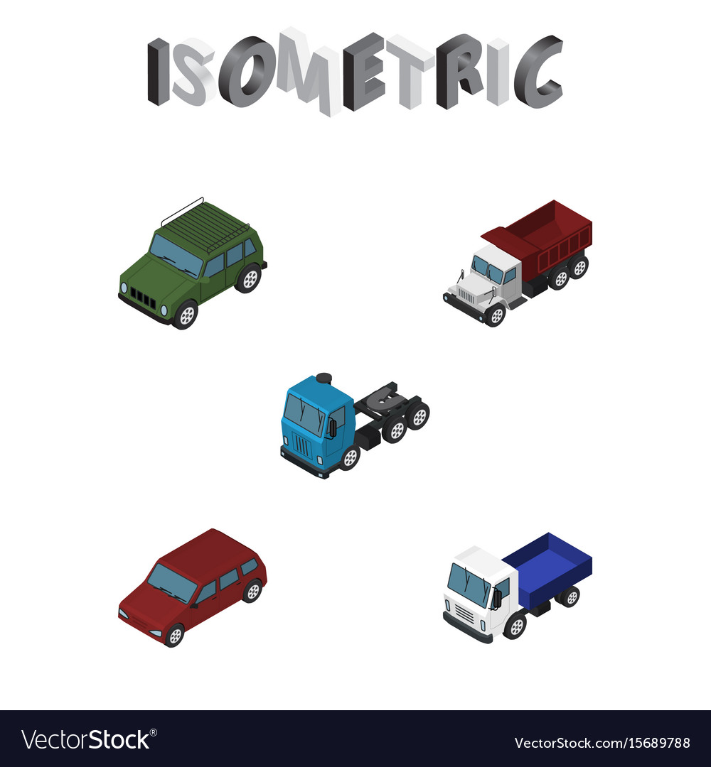 Isometric automobile set of truck freight