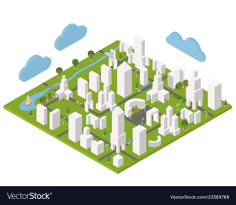Isometric town constructor set for creating your