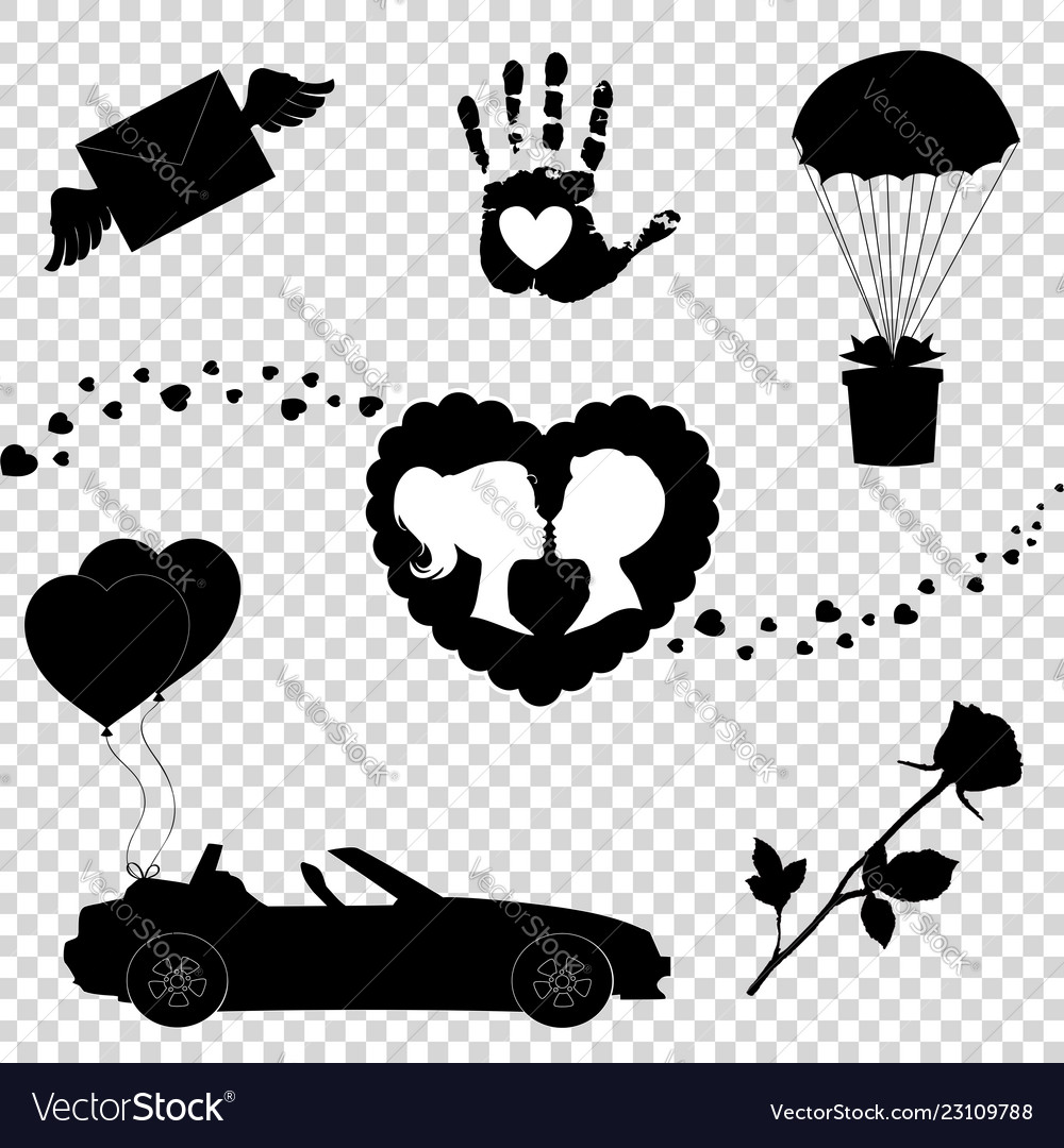 Love icons set of 7 valentine silhouette signs