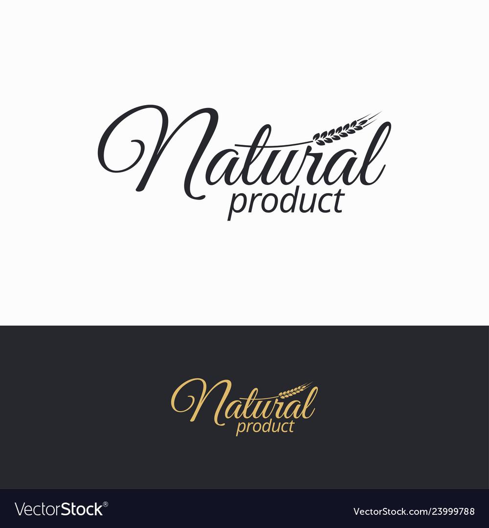 Natural product logo natural black and white