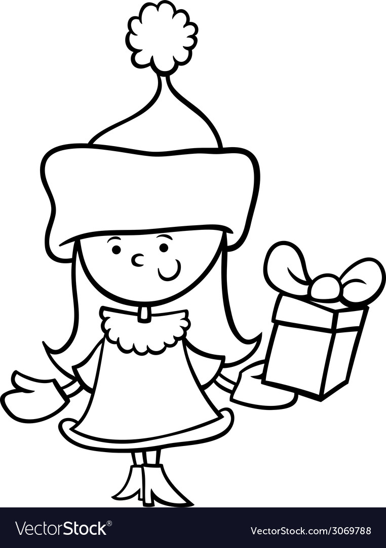 santa claus girl cartoon coloring page vector image