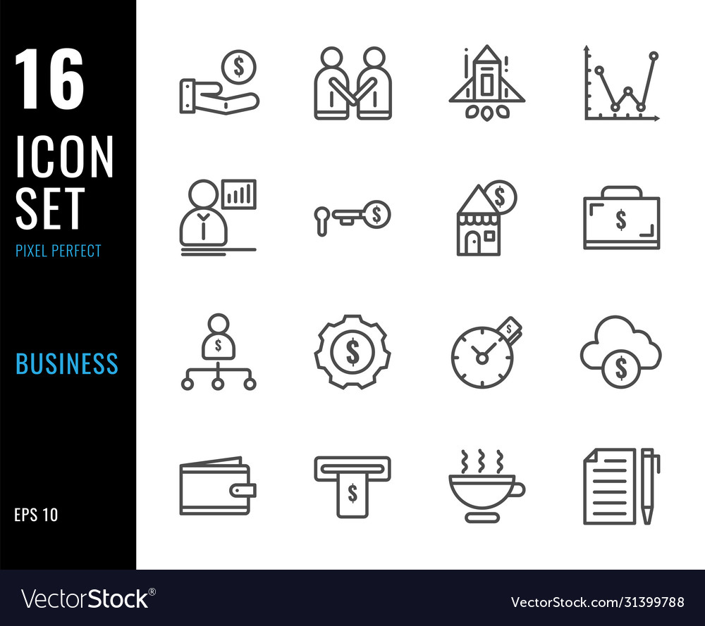 Set 16 icons business thin line style
