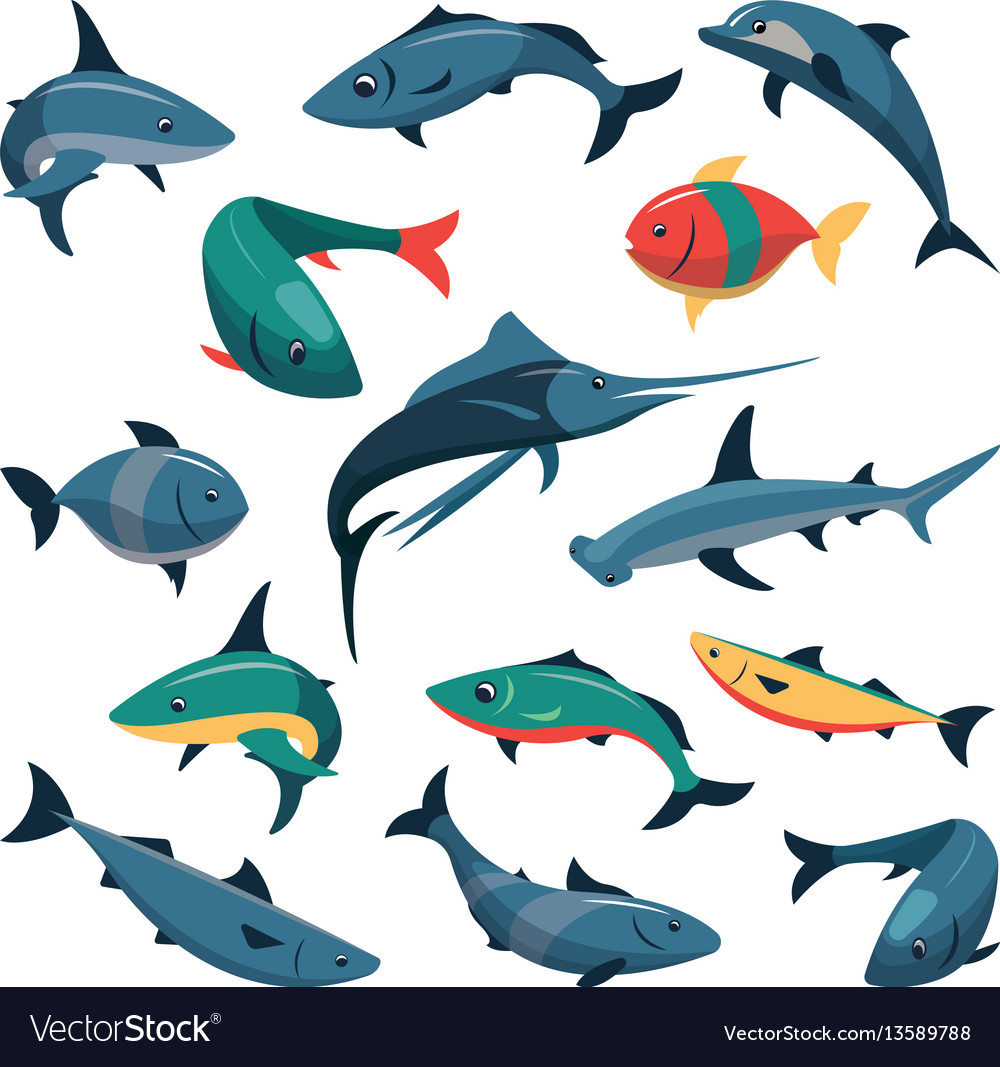 Set of fish icons in flat style vector image