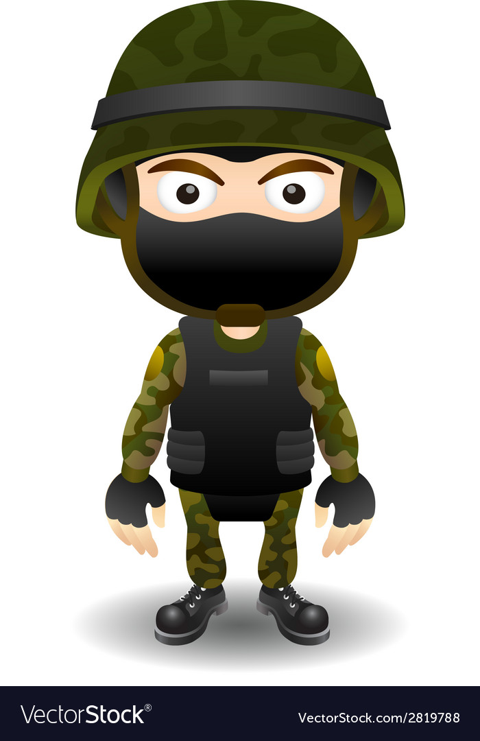 Soldier character in mask