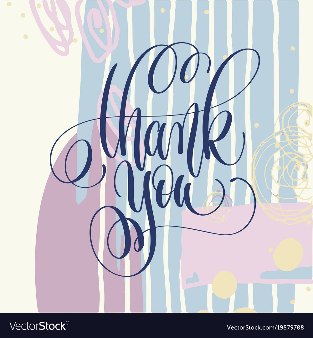 Thank you hand lettering poster on abstract