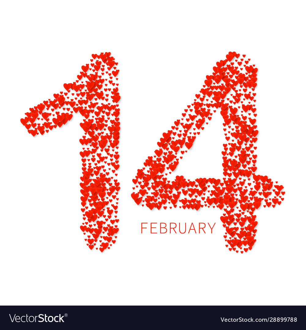 Valentines heart number love symbol 14 february