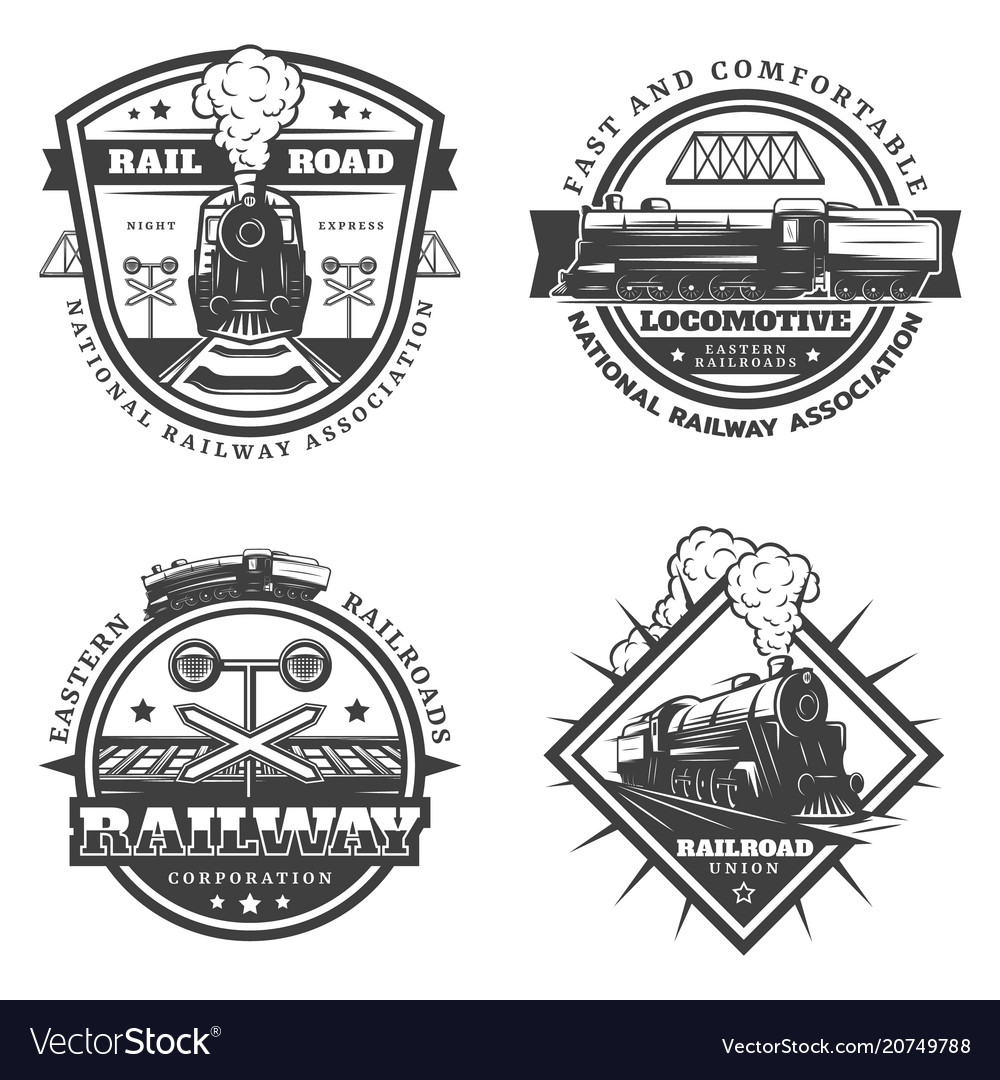 Vintage monochrome retro train emblems set