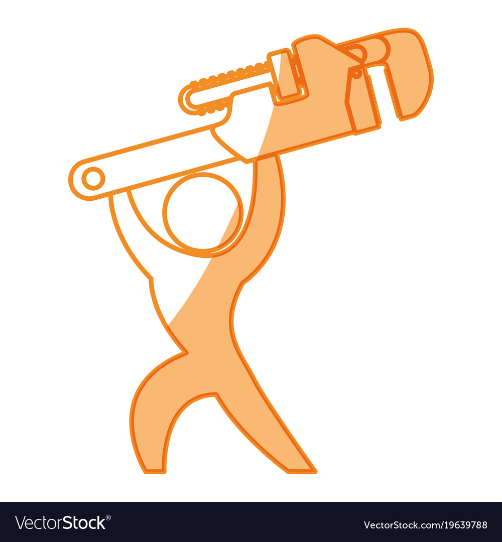 Worker with wrench pictogram