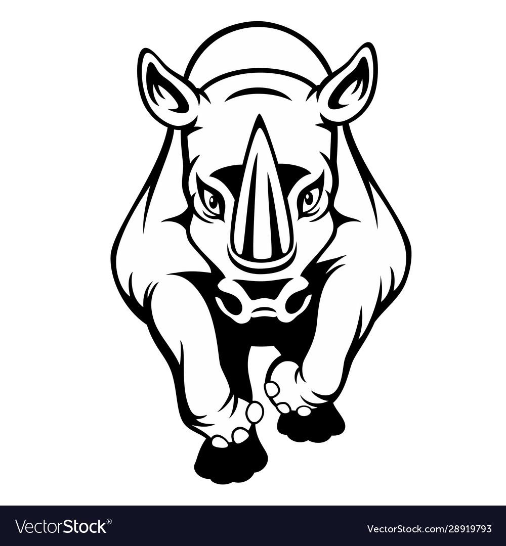 Black And White Cartoon A Rhino Royalty Free Vector Image