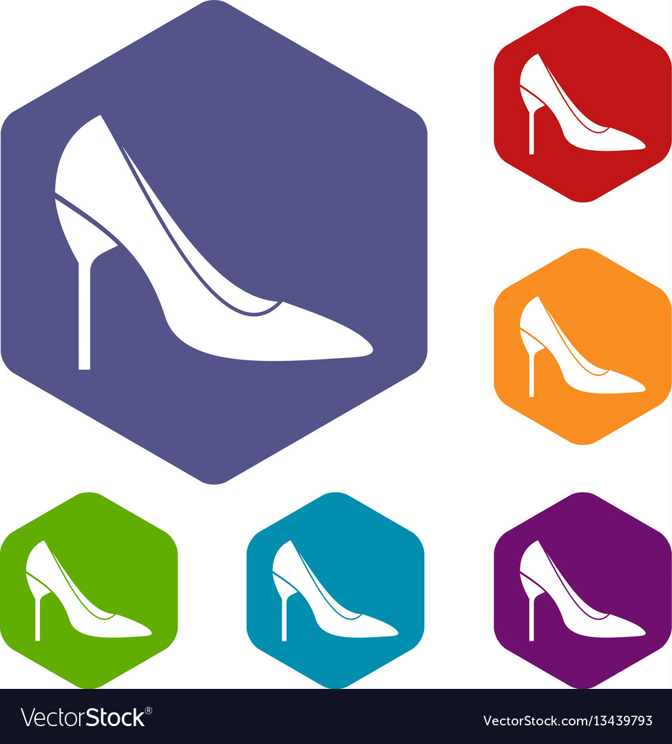 Bride shoes icons set