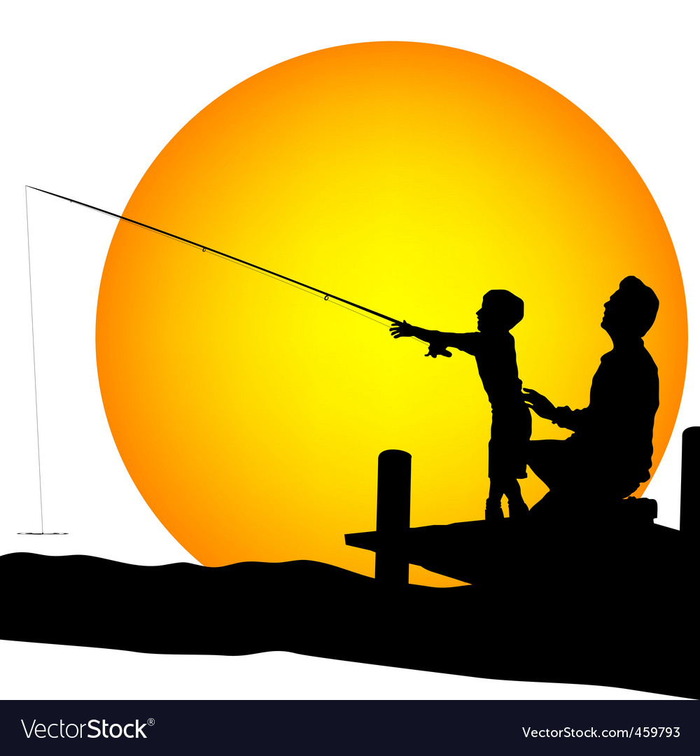 Child and man silhouettes fishing vector image