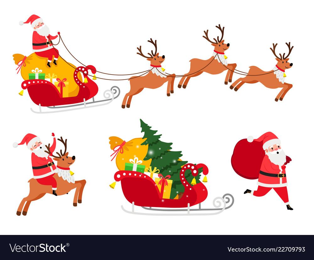 Christmas santa icons set
