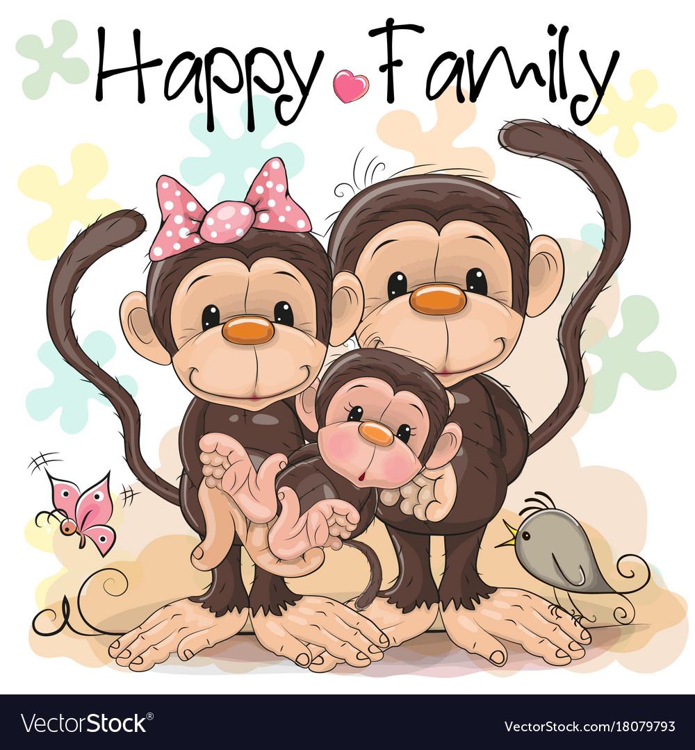 Family of three cute monkeys vector image