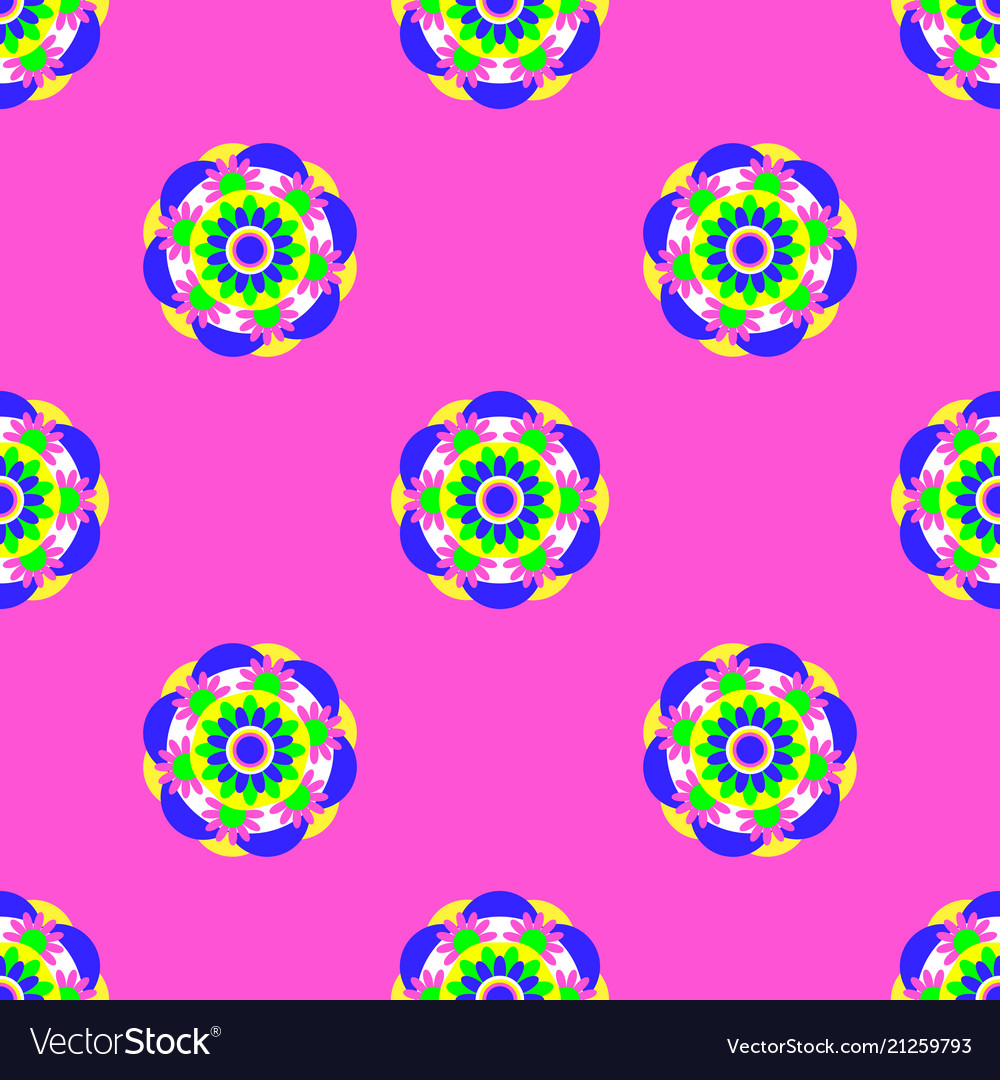 Flower mandala seamless pattern pink background