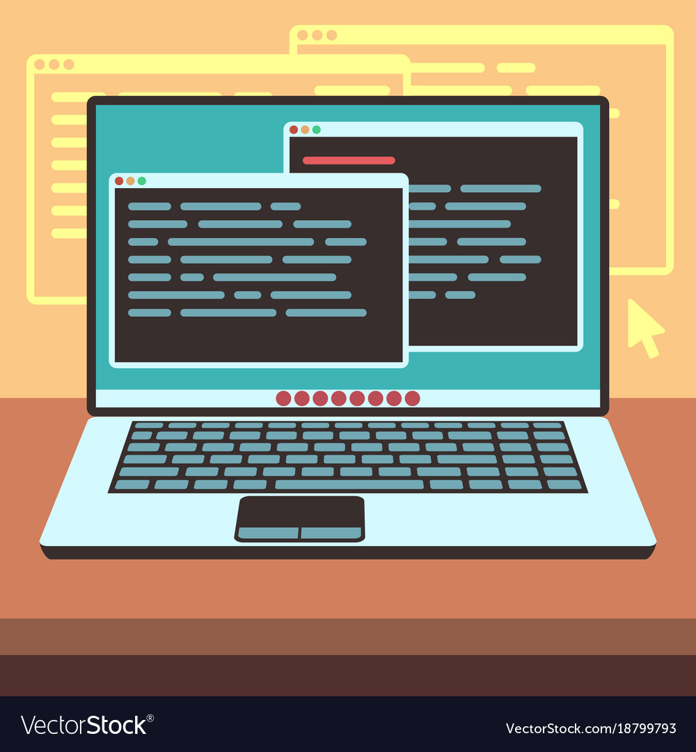 java code on laptop screen programming and coding vector image