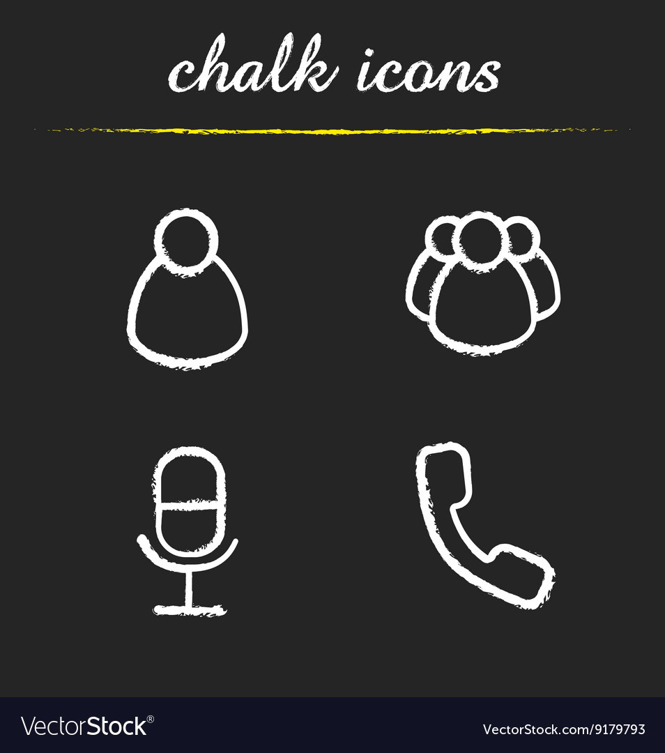 Online conference chalk icons set vector image