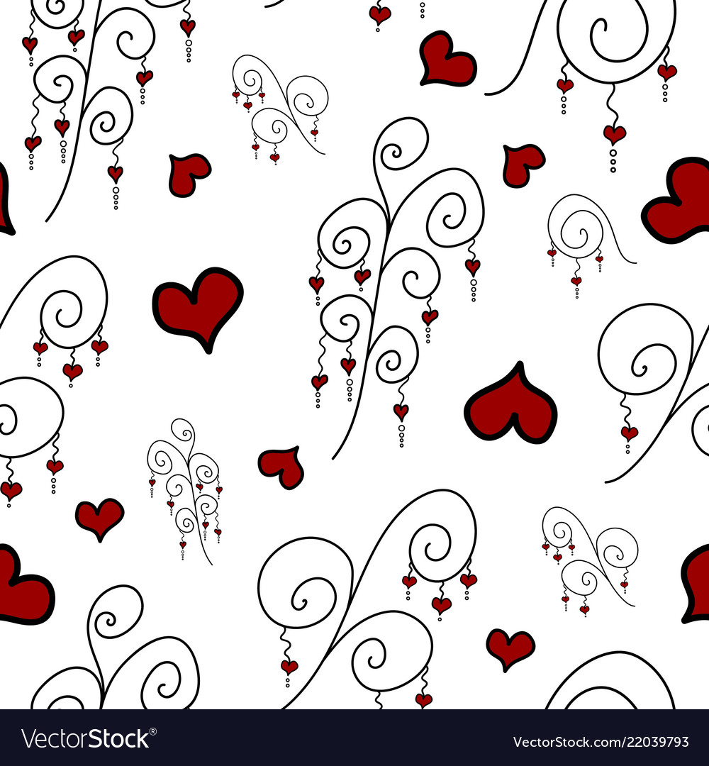 Pattern with doodle branches and hearts