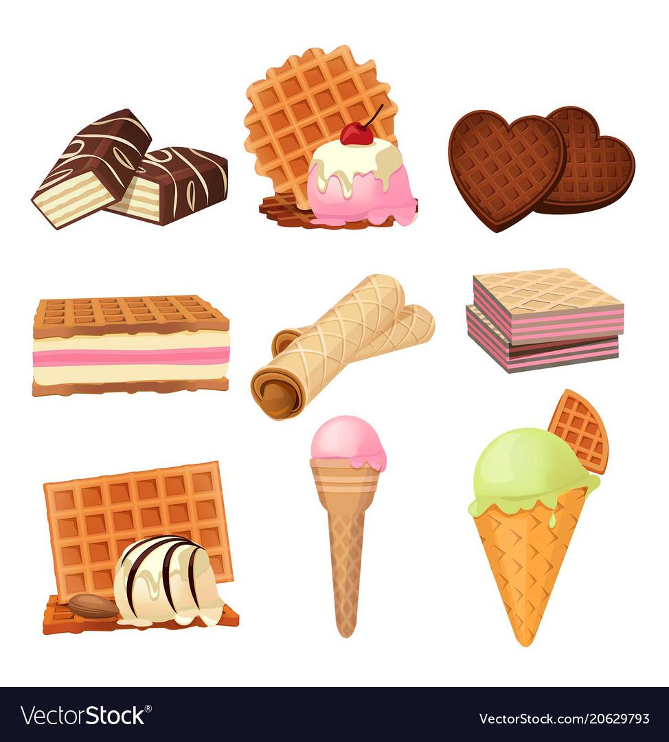 Pictures set of vaffel dessert with cream