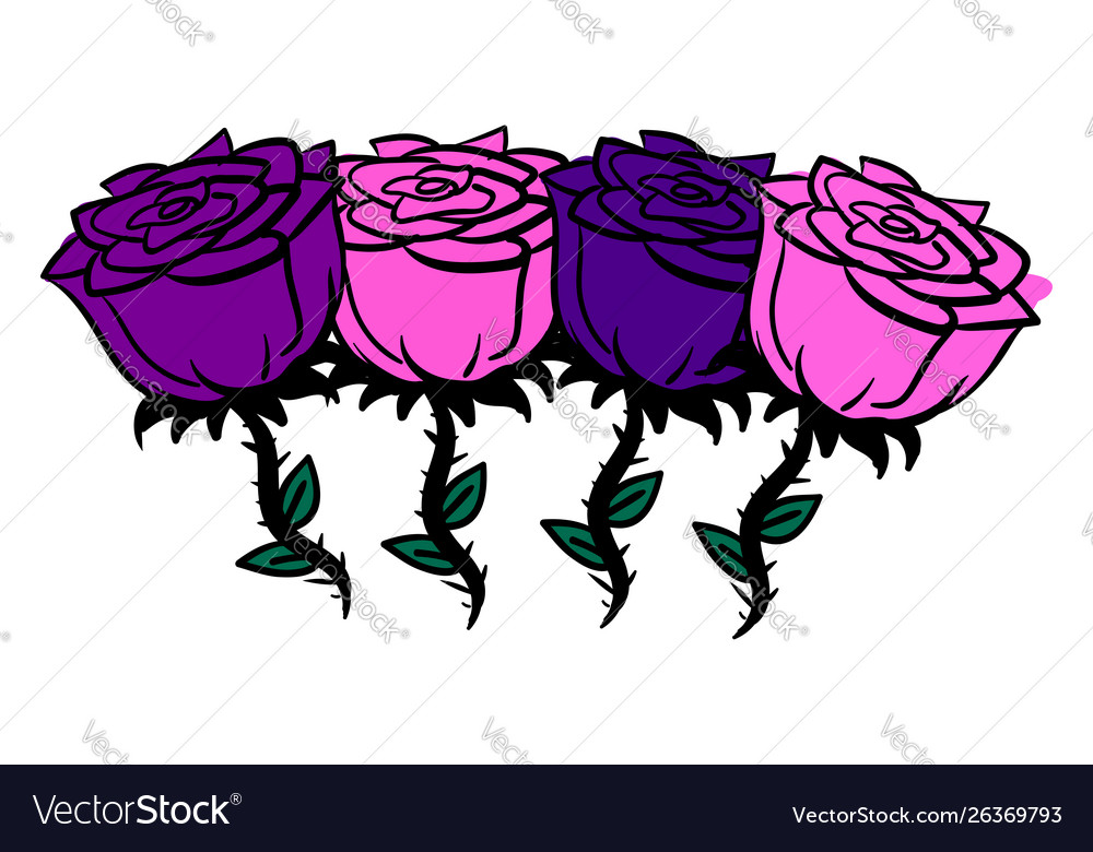 Rose and purple roses on white background