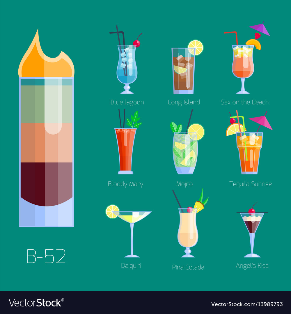 Set alcoholic cocktails isolated fruit cold