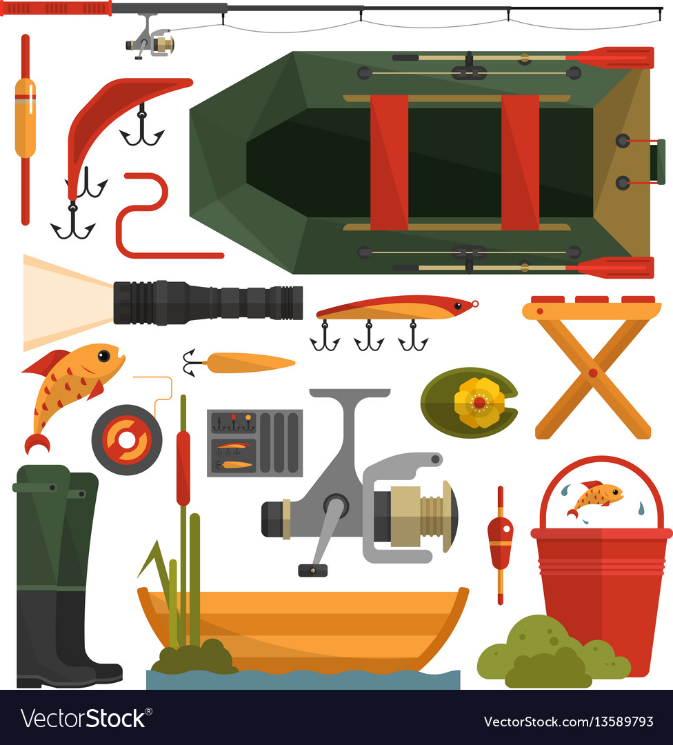 Set of fishing equipment icons in flat