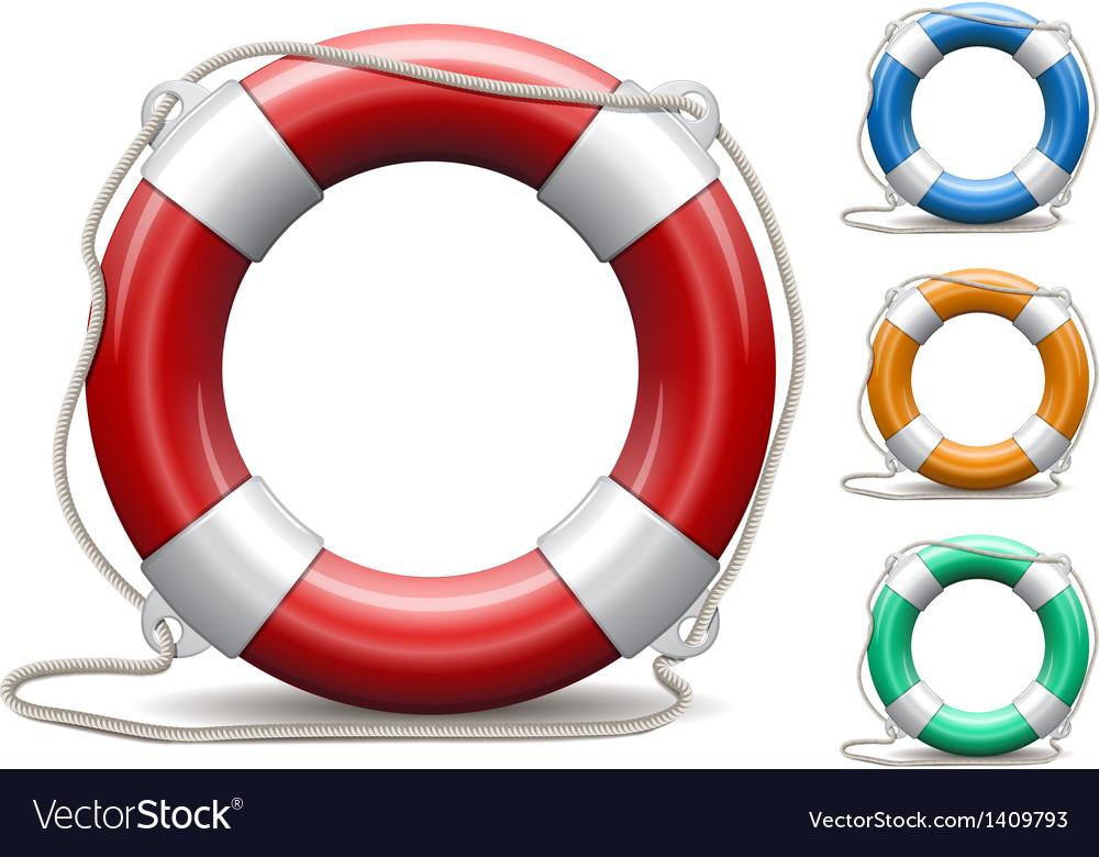 Set of life buoys on white background