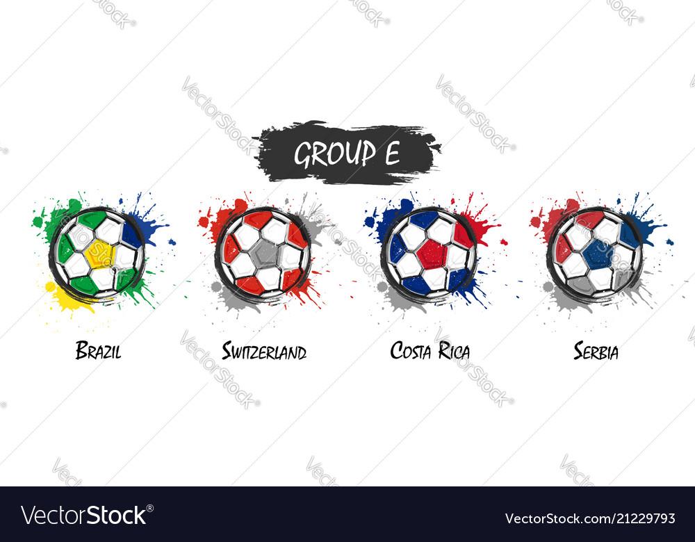 Set of national football team group e realistic