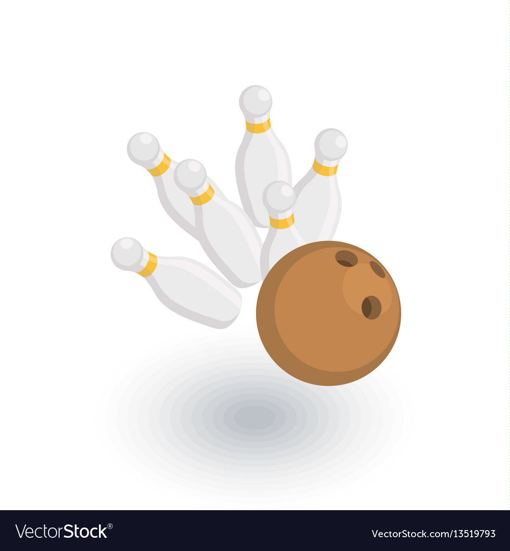 Strike shot spare bowling ball isometric flat vector image