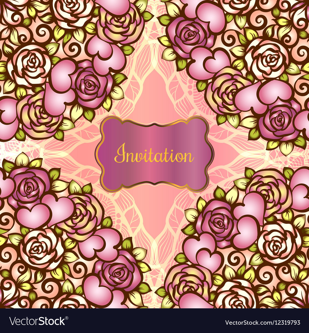 Vintage valentine or wedding invitration card with