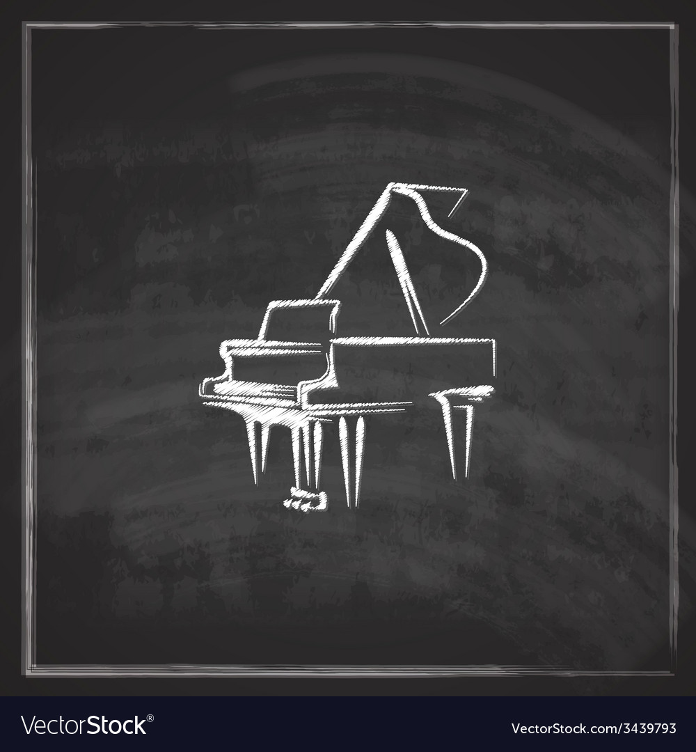 Vintage with the grand piano on blackboard