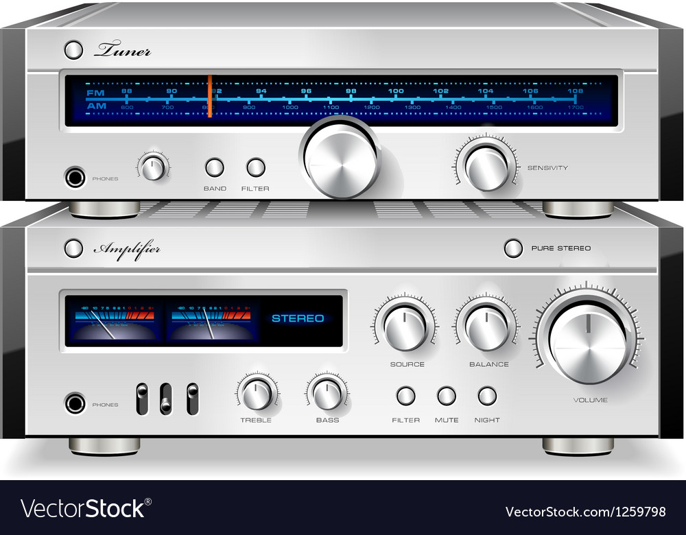 Analog Music Stereo Audio Amplifier and Tuner vector image