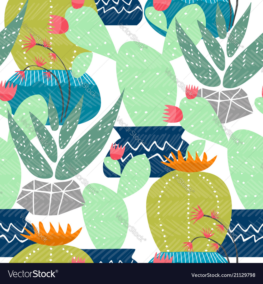 Cactus desert mexican plant seamless pattern